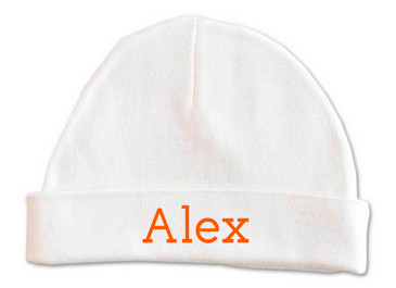 Personalised baby name beanie - orange