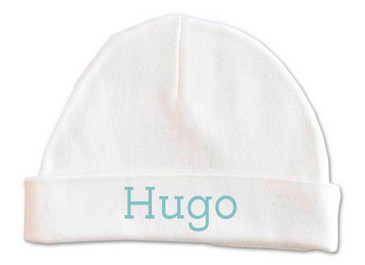Personalised baby name beanie - blue