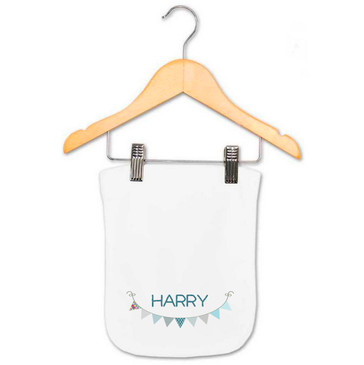 Personalised Blue Bunting Baby Name Burp Cloth