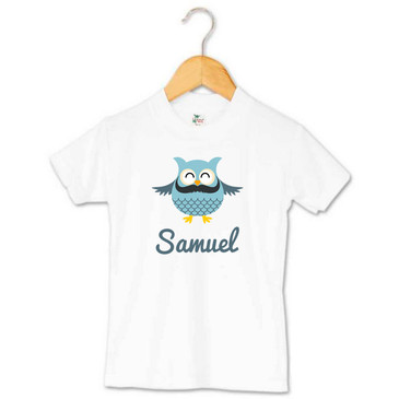Personalised Moustache Owl Toddler Tee - Samuel