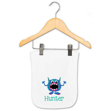 Personalised Monster Burp Cloth - Hunter