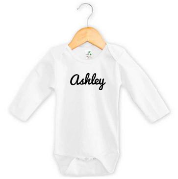 Black cursive name baby bodysuit - Ashley