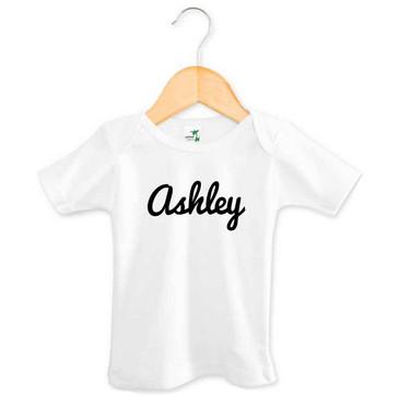 Black cursive baby name t-shirt - Ashley