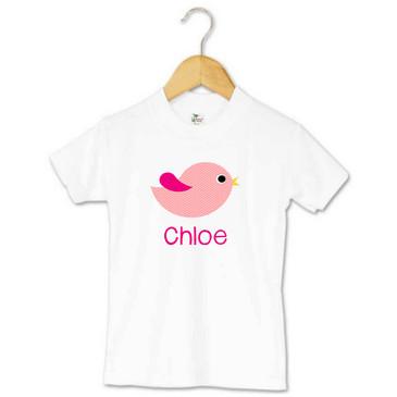 Pink chevron bird personalised toddler t-shirt - Chloe