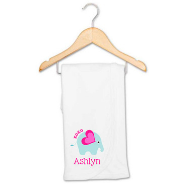 XOXO Elephant baby name blanket - Ashlyn