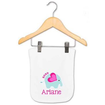 XOXO Elephant baby name burp cloth - Ariane