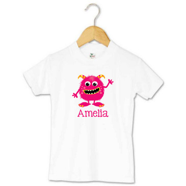 Personalised pink and yellow monster name t-shirt - Amelia