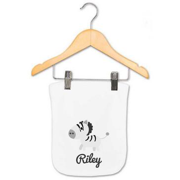 Personalised Zebra Burp Cloth - Riley