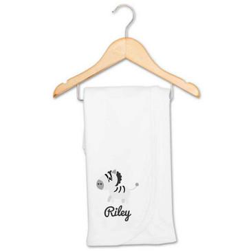 Personalised Zebra Baby Blanket - Riley