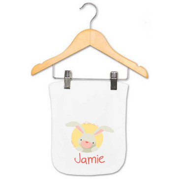 Coral Bunny Baby Name Burp Cloth - Jamie