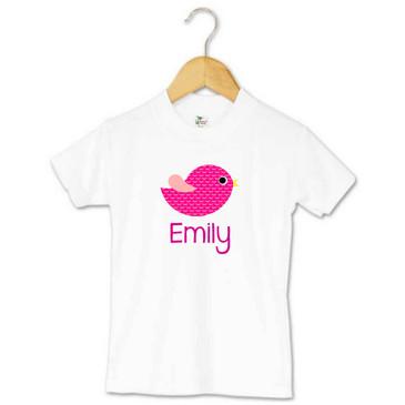 Personalised Pink Bird Toddler T-shirt - Emily