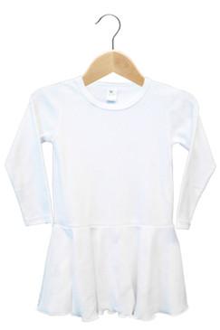 White Long Sleeve Dress with Ruffle Edge