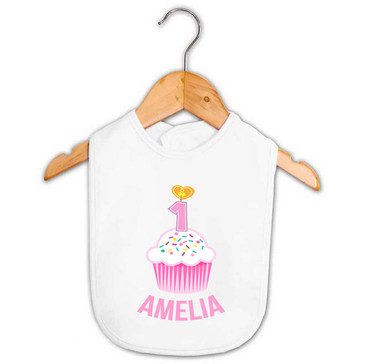 Personalised First Birthday Bib - Pink Cupcake - Amelia