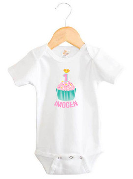 Teal & Pink First Birthday Cupcake Name Onesie