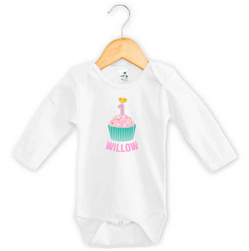 Personalised First Birthday Onesie - Teal and Pink Cupcake - Willow