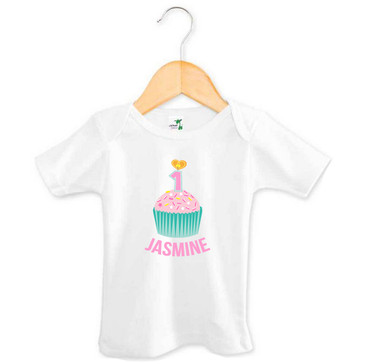 Personalised First Birthday Top - Teal and Pink Cupcake - Jasmine
