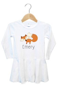 Personalised Fox Baby Name Dress - Emery