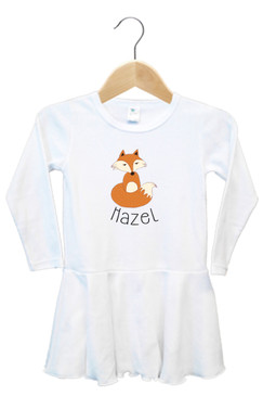 Personalised baby name fox dress - Hazel