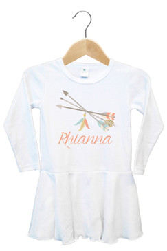 Tribal Arrows and Feathers Baby Name Dress - Rhianna