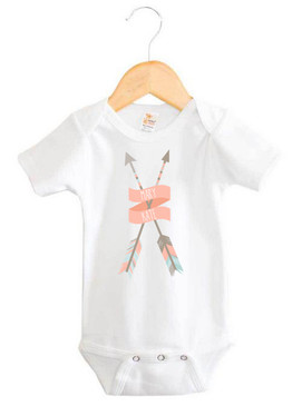 Coral Tribal Arrows Name Onesie - Mary Kate