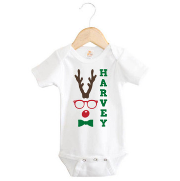 Personalised Hipster Rudolph Onesie (with green text)
