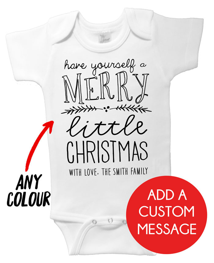 Merry Little Christmas Onesie | Personalised Baby Gifts | Word On Baby