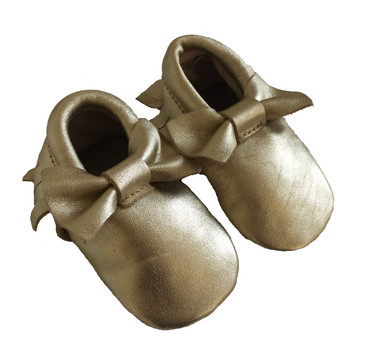 Word On Baby - Metallic Gold Bow Moccasins