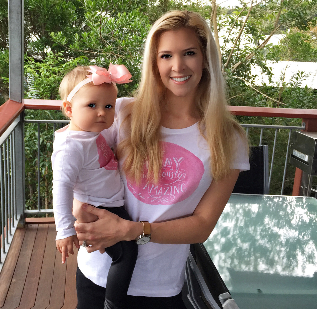Design your own t-shirt female - Courtney From Littlemischiefco In Her Custom Word On Baby Mummy Tee With Her Daughter