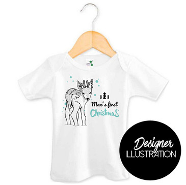 Personalised First Christmas Reindeer Baby Tee