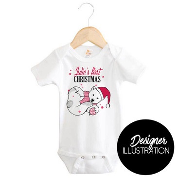 Personalised First Christmas Polar Bear Onesie