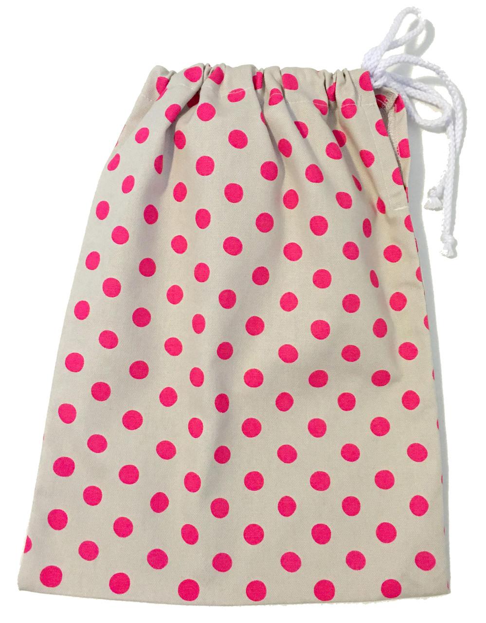 Neon pink polkadot gift bag