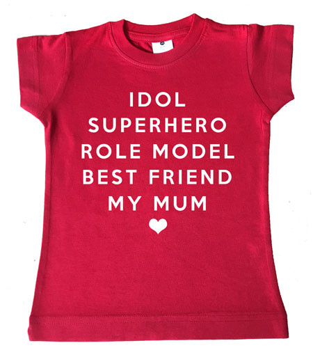 MY MUM custom kids tee in red