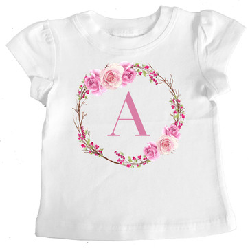 Romantic Roses Personalised Letter Girl Tee