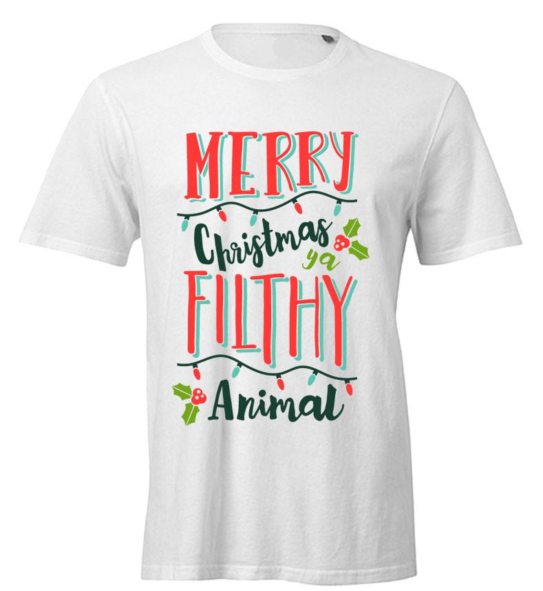 Merry Christmas Ya Filthy Animal Mens Tee