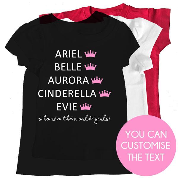 Personalised Princess Names Girl Tee Custom Printed Kids Clothing