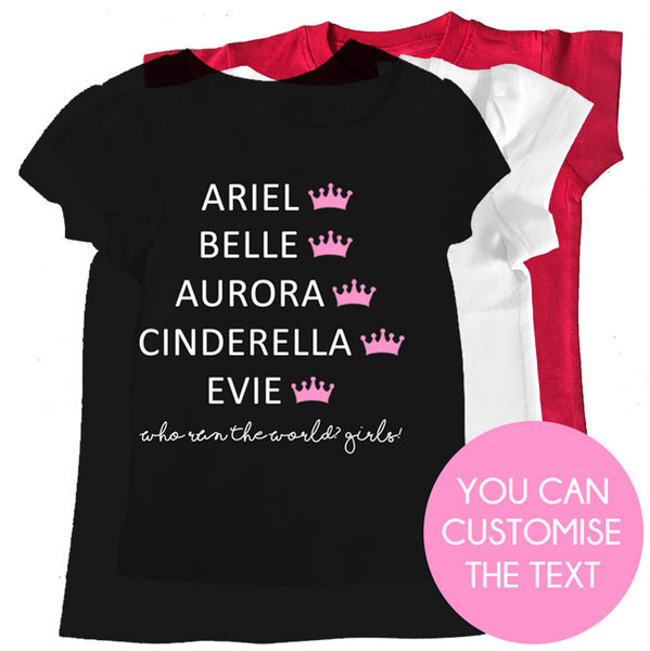 Personalised princess names girl tee custom printed kids for Name printed t shirts online
