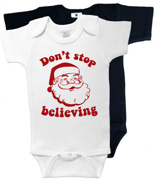 Don't stop believing retro Christmas onesies