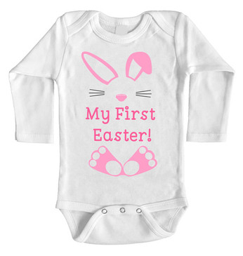 My First Easter Onesie - Pink Bunny long sleeves