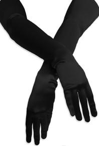 Satin Opera Gloves Black