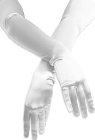 Satin Opera Gloves White