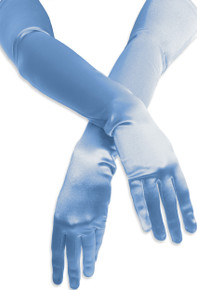 Satin Opera Gloves Light Blue