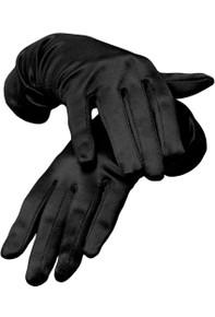 Satin Wrist Length Gloves Black