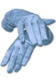 Satin Wrist Length Gloves Light Blue