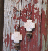 Colored stone cross dangle earrings