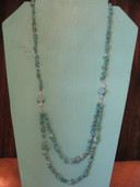 Long multistrand chip and nugget necklace
