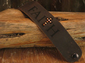 Leather snap bracelet with Faith design