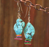 Colored nugget and confetti dangle earrings
