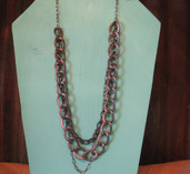 Four strand gunmetal chain link necklace