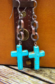 Copper chain dangle earrings with colored long cross