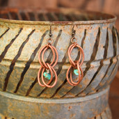 Copper double hoop earrings with turquoise dangles and matching necklace
